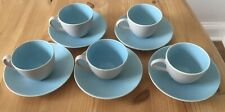 Vintage Poole Pottery- Twintone Sky Blue and Dove Grey Coffee Cups & Saucers GC