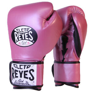 Cleto Reyes Lace Up Hook and Loop Hybrid Boxing Gloves - Medium - Pink Metallic