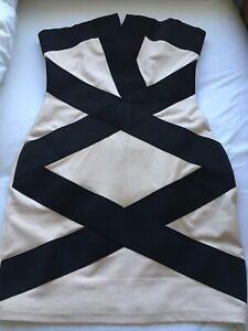 Lipsy Cream And Black Dress Size 12