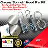 Hair Pin Bonnet Hold Down Safety Pins Pair Chrome Lock Universal Long Lanyard