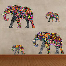 Elephant Family Wall Sticker Vinyl Bedroom Flower Decal Bedroom Home Decor