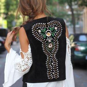 Zara  Suede Embroidered Waistcoat Vest  BNWT SIZE: M
