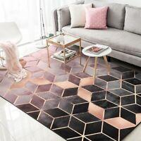 Black Rose Gold Room Carpet Nordic Bedroom Rugs Anti Slip  Geometric Lounge Mats