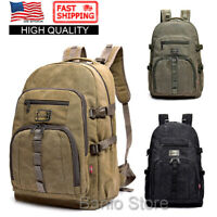Men Canvas Large Backpack Rucksack Big Bag Camping Travel School Satchel Outdoor