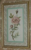 Vintage HOMCO Home Interiors Picture PINK TEA ROSE & LACE