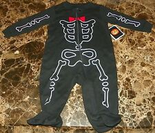 NEW Skeleton HALLOWEEN ~ Infant CREEPER BODYSUIT FOOTIE ~ Boy's Sz 3M 6M Costume