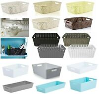Rattan Plastic Studio Storage Handy Basket Office Home Kitchen Tidy Organiser