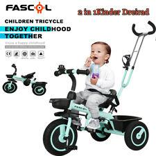 Fascol Kinder Dreirad mit Lenkbarer Schubstange 2 in 1 Kinderdreirad Fahrrad DHL