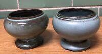 Vintage Frankoma Pottery #22S Round Planter (Set of 1 Blue, 1 Prairie Green)