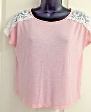 Grayso Mauve/Pink Lace Shoulders Short/Capped Sleeved Tee S