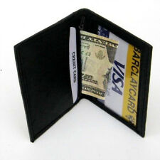 Black Men's Genuine Leather Bifold Thin Wallet ID Credit Card Bill Zip Hideaway