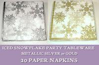 ICED SNOWFLAKE 20 PAPER NAPKINS Metallic GOLD SILVER WHITE Christmas Party XMAS