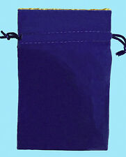 BLUE VELVET & LUXURY SATIN GOLD Lining DICE BAG NEW 4x6 Storage Pouch MDG Silk