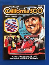 1976 California 500 Ontario CA Program w/Patch Bobby & Al Unser AJ Foyt w/Insert