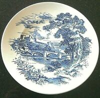 Vintage Wedgwood Countryside Blue Dinner Plate Castle Bridge River English Scene