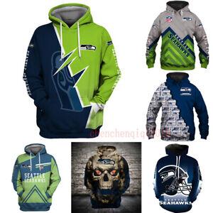 Seattle Seahawks Fan's Hoodies Hooded Pullover Sweatshirt Casual Jacket Coat