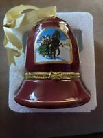 """Mr. Christmas Hand Painted Porcelain Bell Music Box Plays """"Joy To The World"""". NB"""