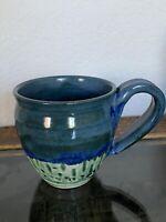 "Stoneware Ceramic Hand Made Pottery blue green gradient tea coffee mug 3.5"""