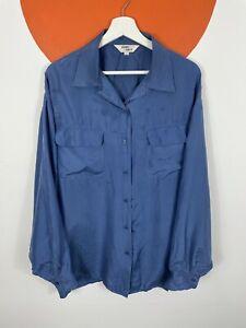 Men's Vintage Pure Silk Long Sleeve Casual Shirt Pockets Dark Blue UK Size Large