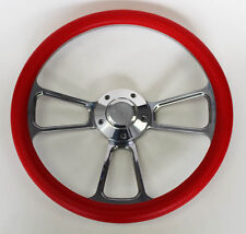 "1969-1994 Chevy Camaro Steering Wheel Red and Billet 14"" Chevy Bowtie Cap"