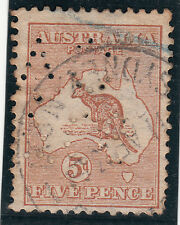 Kangaroo stamp 5d brown 1st watermark SG8 with AC&Co private perfin scarce