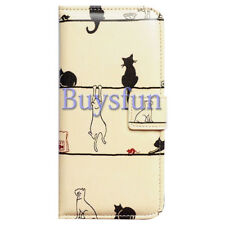 Covdo Black Cat White Cat Card Slot Wallet Leather Cover Case For iPhone X