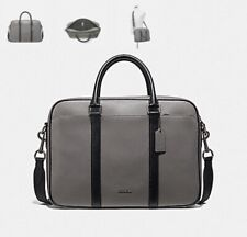 Brand New Coach Perry Slim Brief Laptop Bag In Heather Grey