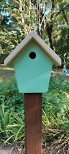 Birdhouse wooden outdoor painted with bottom cleanout