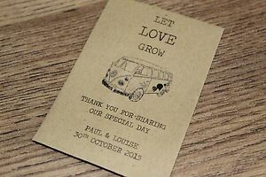 Personalised Seed Packets Envelopes Wedding Favours Vintage Camper Van