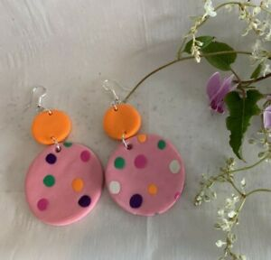 BRIGHT AND FUN ORANGE & PINK MULTI  SPOT DOUBLE DROP EARRINGS