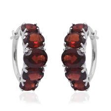 925 Sterling Silver Garnet Hoops Hoop Earrings Jewelry Gift for Women Ct 9