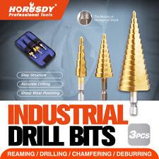 HSS 3pcs Steel Step Cone Set Drill Titanium Bit Hole Cutter 4-12/20/32mm Pouch