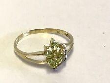 "Beautiful 9ct Gold Diamond and Peridot Cluster Ring - Size ""O"""
