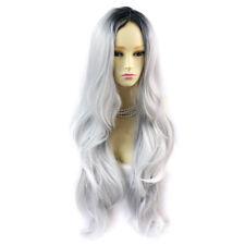 Gorgeous Long Wavy Wig Grey & Off Black Dip-Dye Ombre Hair UK