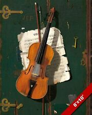 THE OLD VIOLIN HANGING ON A DOOR & SHEET MUSIC PAINTING ART REAL CANVAS PRINT
