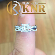 14k White Gold Princess Cut Diamond Engagement Ring Band Bridal Twisted 1.10ctw