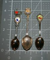 LOT OF 3 VINTAGE SOUVENIR COLLECTOR SPOONS W/ ENAMEL HEADERS ROCHESTER, GEORGIA