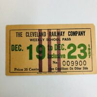 Vintage Cleveland Railway Company Weekly School Pass Dec 19 - Dec 23 1927  $.35