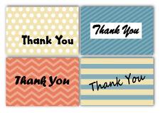 100 Thank You Cards & Envelopes 4 Designs Dots, Stripes, Chevron, 4x6 inches