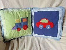 Tiddliwinks Baby Nursery Set of 2 Crib Pillows Train Car Vehicles Green Blue Red