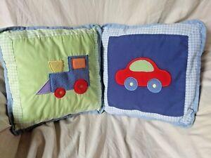 Tiddliwinks Baby Nursery Set of 2 Crib Pillows Train Car Vehicles Green Blue Red