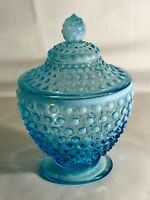 Fenton Blue Opalescent Hobnail Candy With Cover