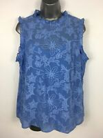 BNWT WOMENS F&F BLUE EMBROIDERED FLORAL SLEEVELESS SUMMER BLOUSE UK 14 RRP£20