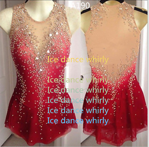 Figure Skating Competition Dress Ice Skating Training Dress Girl Costume Red