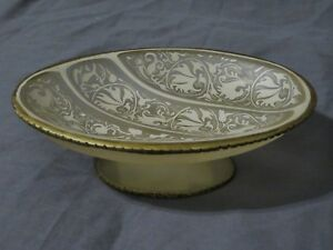 Twist Soap Dish Clear & Beige Floral with Gold Trim - Oval Shaped Pedestal