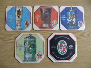 """5 sehr schöne alte Bierdeckel Becks-Bier """"Edle Trinkgefäße Nr.1,3,4,5- aus 80er"""