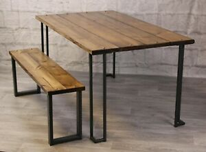 Industrial Style Dining Table And Bench Set Vintage Style, Rustic, Bar Tables
