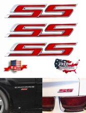 3= Premium Red Ss Badge Fender Trunk Emblem Decal for Chevy Camaro Impala Cobalt
