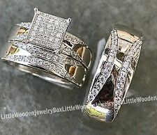 His and Hers Real Sterling Silver Engagement Ring Wedding Band Set Mens Womens