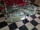 Vintage Hollywood Regency MCM Goran Belgium 4 PC set Glass Coffee End Tables